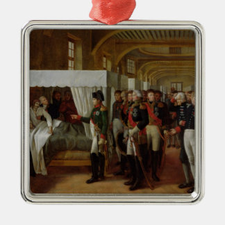 Napoleon visiting the Infirmary of Invalides Silver-Colored Square Decoration