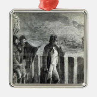 Napoleon watching the Fire of Moscow in 1812 Silver-Colored Square Decoration