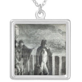 Napoleon watching the Fire of Moscow in 1812 Square Pendant Necklace