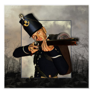 napoleonic foot soldier rifleman poster