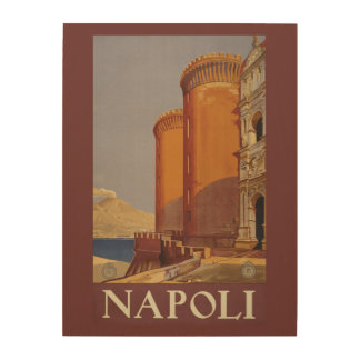 Napoli (Naples) Italy vintage travel wood canvas