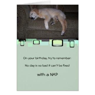 Napping Golden Retriever Puppy Card