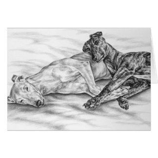 Napping Greyhounds Drawing by Kelli Swan Greeting Card