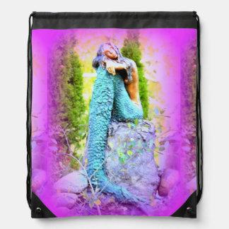 napping mermaid drawstring backpack