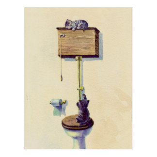 NAPPING on the WATER CLOSET by SHARON SHARPE Postcard