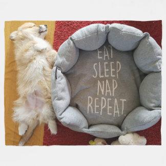 Napping Puppy Fleece Blanket