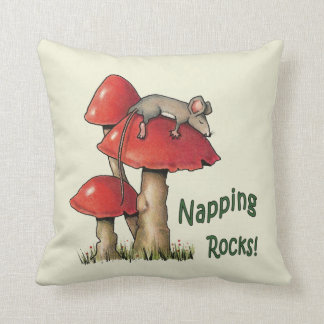 Napping Rocks! Mouse Sleeping on Toadstool Cushion