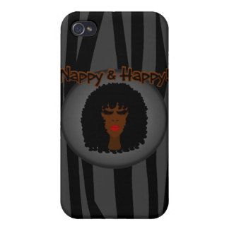 Nappy & Happy! With Beautiful Black Woman iPhone 4/4S Case