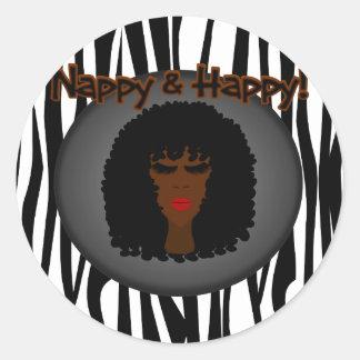 Nappy & Happy! With Beautiful Black Woman Sticker