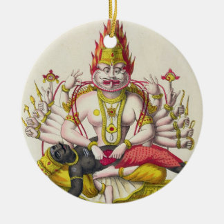 Narasimha, engraved by de Marlet (colour litho) Round Ceramic Decoration