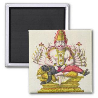 Narasimha, engraved by de Marlet (colour litho) Square Magnet