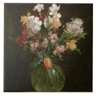 Narcisses Blancs, Jacinthes et Tulipes, 1864 Large Square Tile