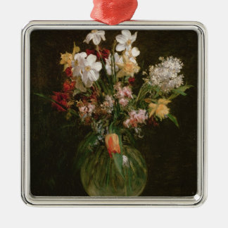 Narcisses Blancs, Jacinthes et Tulipes, 1864 Silver-Colored Square Decoration