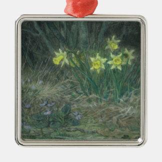 Narcissi and Violets, c.1867 Silver-Colored Square Decoration