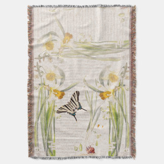Narcissus Amarylis Flowers Butterfly Throw Blanket