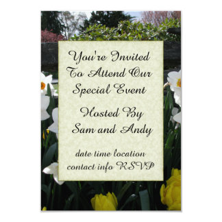 "Narcissus and Wooden Fence 3.5"" X 5"" Invitation Card"