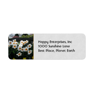 Narcissus and Wooden Fence Return Address Label