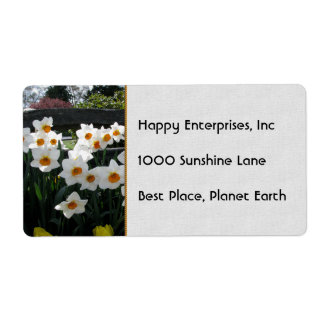 Narcissus and Wooden Fence Shipping Label