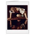 Narcissus By Michelangelo Merisi Da Caravaggio Greeting Card