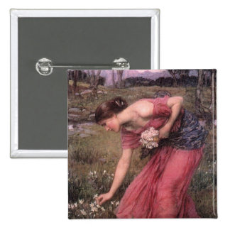 Narcissus Picking Flowers in the Meadow 15 Cm Square Badge