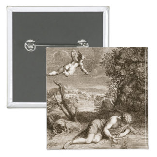 Narcissus Transformed into a Flower, 1730 (engravi 15 Cm Square Badge