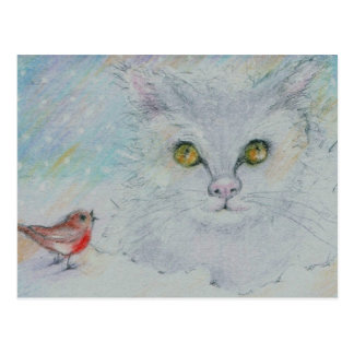 Narnia eyes the Robin in an uneasy Christmas Truce Postcard