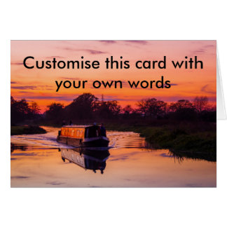 Narrow boat at Sunset Greeting Card