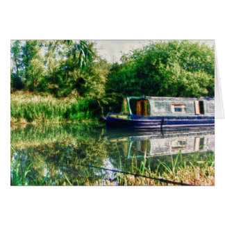 Narrow boat on the River Nene card