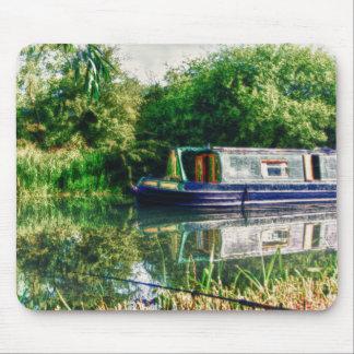 Narrow boat on the River Nene mousemat