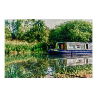 Narrow boat on the River Nene Print