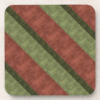 Narrow Broad Wine and Green Diagonal Striped Drink Coasters