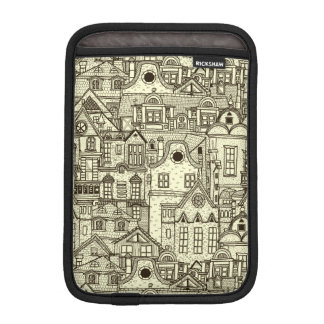 Narrow city houses sketchy illustration pattern iPad mini sleeve