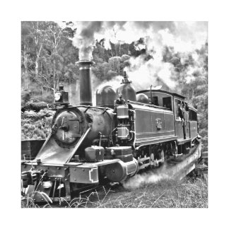 Narrow Gauge Steam Train Puffing Engine Stretched Canvas Prints