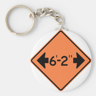 Narrow Passage Highway Sign Basic Round Button Key Ring