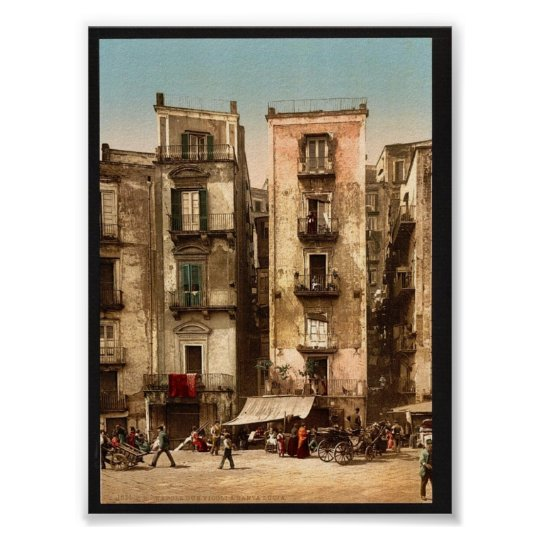 Narrow streets, Naples, Italy classic Photochrom Poster