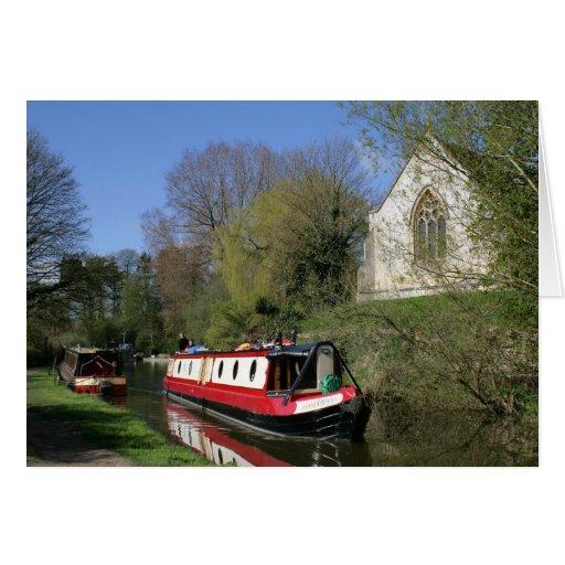 Narrowboat & Church On Oxford Canal Greeting Card