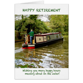 Narrowboat Happy Retirement Card
