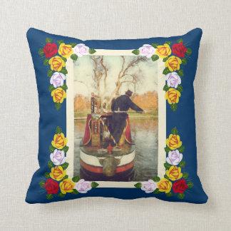 Narrowboat winding throw pillow