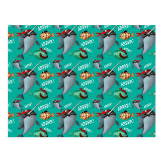 Narwhal and Fish Pirate Pattern Postcard