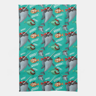 Narwhal and Fish Pirate Pattern Tea Towel