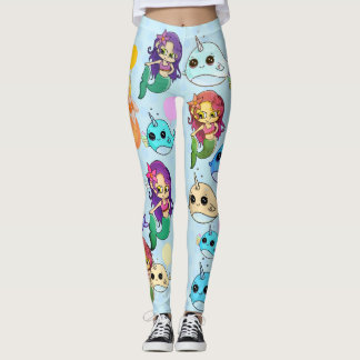 Narwhal and Mermaid Ice Cream Party Leggings