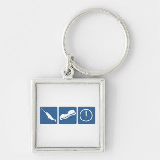 Narwhal - Bacon - Midnight Silver-Colored Square Key Ring