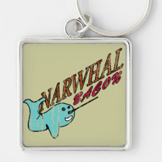Narwhal Bacon Retro Logo Silver-Colored Square Key Ring