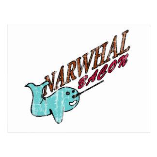 Narwhal Bacon Retro Logo Postcard