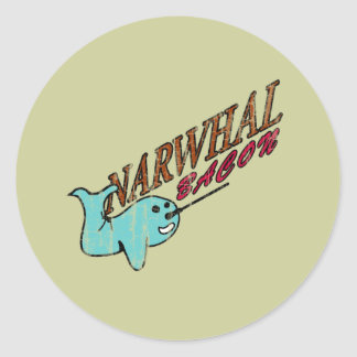 Narwhal Bacon Retro Logo Round Sticker