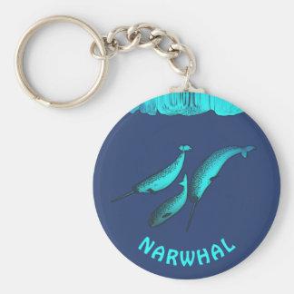 Narwhal Basic Round Button Key Ring