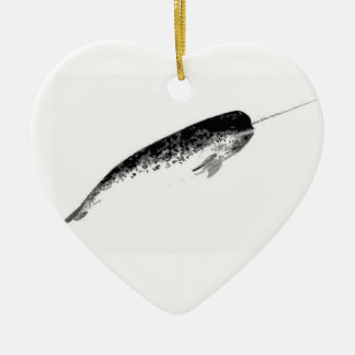 Narwhal Heart Ornament