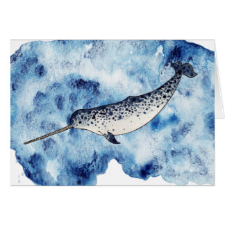 Narwhal in  a splash of watercolour card