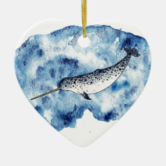 Narwhal in  a splash of watercolour ceramic heart decoration