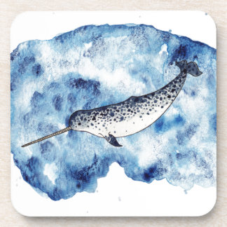 Narwhal in  a splash of watercolour coaster